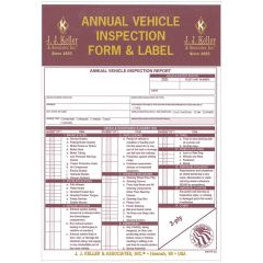 Annual Vehicle Inspection Form & Label Carbon Copy