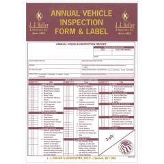 Annual Vehicle Inspection Form & Label Carbon Copy