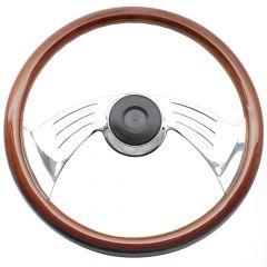 Two-Spoke Wing Rosewood Steering Wheel for Peterbilt, Kenworth, Mack, Western Star