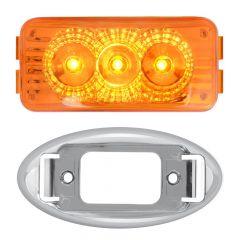 """2-1/2"""" 3 LED Rectangular Spyder Light with Chrome Oval Rim"""