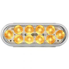 "6-1/2"" Amber/Clear 10 LED Oval Mega 10 Light"