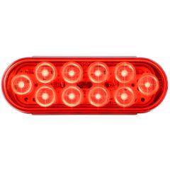 "6-1/2"" Red 10 LED Oval Mega 10 Light"