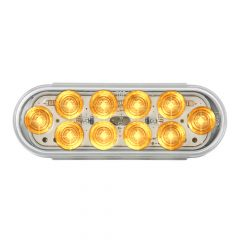 Amber/Clear 10 LED Oval Mega Light with Stainless Bezel