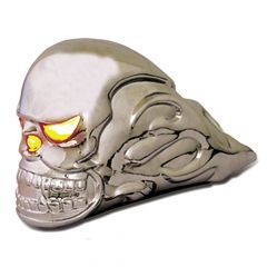 Chrome Illuminated Skull Hood Ornament