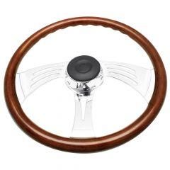 FL Three-Spoke Wing Style Rosewood Steering Wheel
