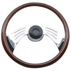 """2 Spoke Wing Style Rosewood Steering Wheel 18"""""""