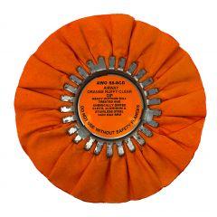 """Zephyr 8"""" Orange Ruffy Clear Dip Buffing Wheel"""