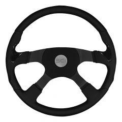 """4 Spoke Stealth Sport Leather Steering Wheel 18"""""""