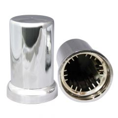 33mm Chrome Plastic Top Hat Nut Cover - Push On