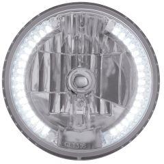 "7"" Crystal Headlight with 34 White LED #9003 Bulb"
