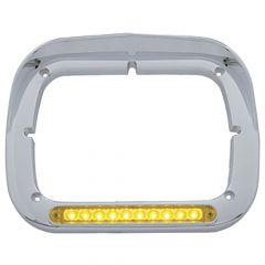 Amber/Amber LED Chrome Headlight Bezel with Visor
