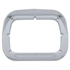 Amber/Clear LED Chrome Headlight Bezel with Visor