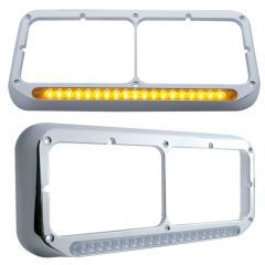 Rectangular Dual Headlight Bezel with 19 LED Lights