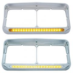 Dual Rectangular Headlight Bezel with Visor 19 LED Lights