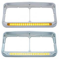 Dual Rectangular Headlight Bezel with Visor 19 LED Lights