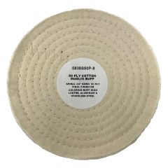 """Zephyr 8"""" White Cotton Muslin 50-Ply Buffing Wheel"""
