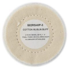 """Zephyr 3"""" White Cotton Muslin 40-Ply Buffing Wheel"""