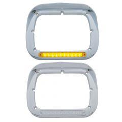 "8"" x 6"" Headlight Bezel with LEDs and Visor"