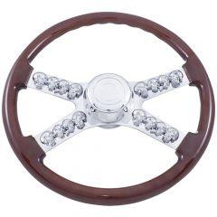 """4 Spoke Skull Wood Steering Wheel 18"""""""