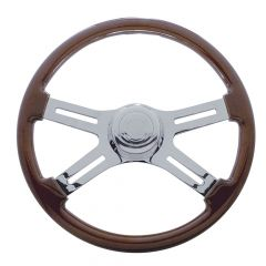4 Spoke Wood Steering Wheel with Cut Out Spokes 18""
