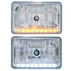 "6.5"" x 4"" Rectangular Crystal Headlight with LED"