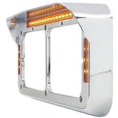 Dual Rectangular Headlight Bezel with Visor 21 LED Lights
