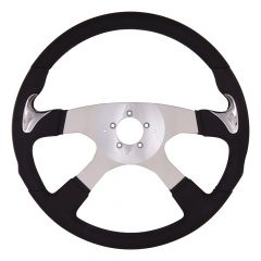 """4 Spoke Highway Style Leather Steering Wheel 18"""""""