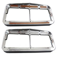 Dual Rectangular Headlight Bezel 50 Flatline LED Lights
