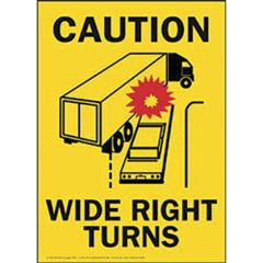 "16"" x 11.5"" Caution Wide Right Turns Vinyl Decal"