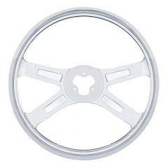 """4 Spoke Stainless Steel Steering Wheel 18"""""""