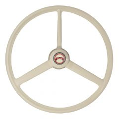 3 Spoke Ivory Retro Style Steering Wheel 20""