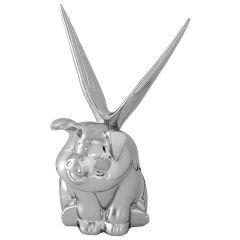 Chrome Winged Pig Hood Ornament