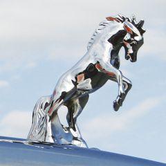 Chrome Fighting Stallion Hood Ornament