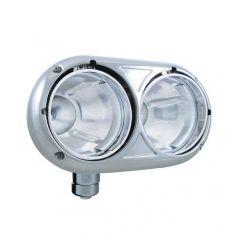 Peterbilt 359 Stainless Dual Headlight Housing with Inner Lamp Bucket
