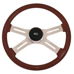 4 Spoke Classic Mahogany Steering Wheel 18""