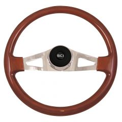 "2 Spoke Pinion Mahogany Steering Wheel 18"""