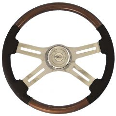4 Spoke Wood and Leather Steering Wheel 18""