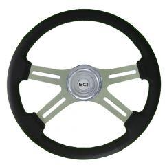 """4-Spoke Classic Leather Steering Wheel 18"""""""