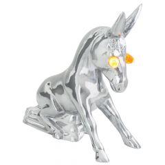 Chrome Donkey Hood Ornament with Incandescnt Illuminated Eyes