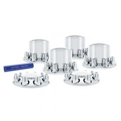 Chrome Dome Axle Cover Kit w/ Thread-On Nut Covers