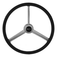 """3 Spoke Leather Retro Style Steering Wheel 20"""""""