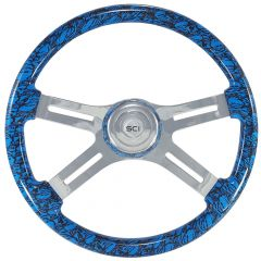 4 Spoke Skull Print Steering Wheel 18""