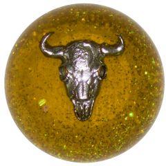 Cow Skull Amber Glitter Shifter Knob