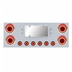 """Stainless Steel Center Panel with Six 2"""" & Four 4"""" Red Mirage Lights"""