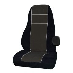 Kenworth Black Leather & Corduroy Seat Cover