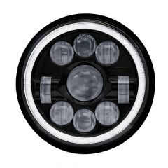 """7"""" LED Black Projector Headlight with Halo"""