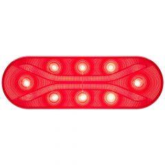 """Light Guide 6.5"""" Red 12 LED Oval S/T/T Light"""