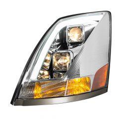 Volvo VN VNL Chrome Projector Headlight with White LED Position Light
