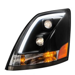 Volvo VN VNL Black Projector Headlight with White LED Position Light