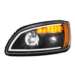 Kenworth T660 Black Headlight with LED Turn Signal